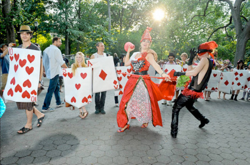 free art society mad hatter tea party, art, collaboration, nyc, tompkins square park, new york, east village, nicolina johnson, dan bratman, perola bonfanti, walker fee, live painting, costumes, edgar andres zorrilla monsoon, guerilla, street art, fun, children